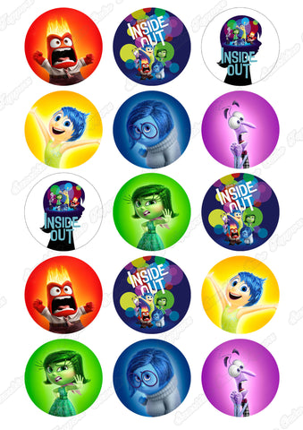 "Inside Out 2"" Cupcake toppers x 15"