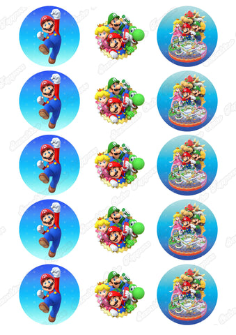 "Mario Party 10 2"" Cupcake toppers x 15"
