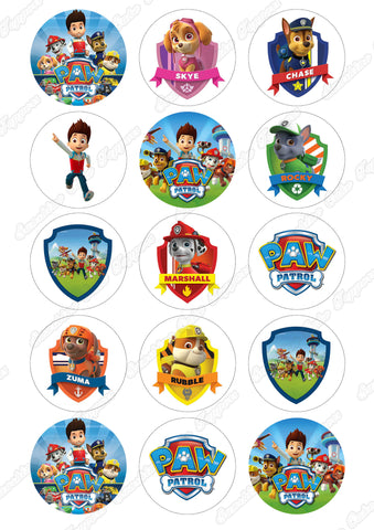 "Paw Patrol 2"" Cupcake toppers x 15"