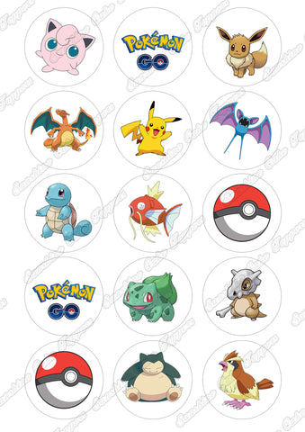 "Pokemon Go 2"" Cupcake toppers x 15"