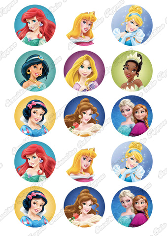 "Disney Princess 2"" Cupcake toppers x 15"