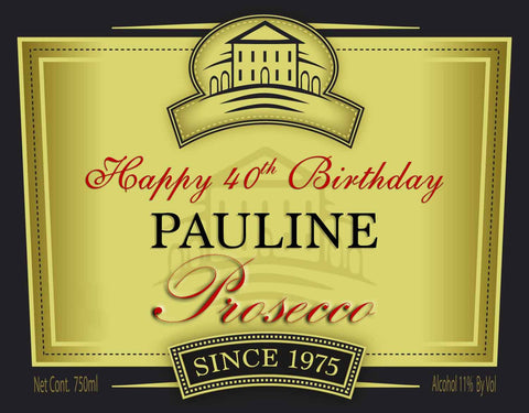 Prosecco Sparkling Wine Label Personalised Cake Topper