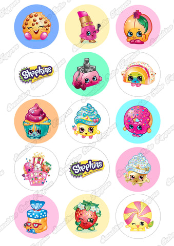 "Shopkins 2"" Cupcake toppers x 15"