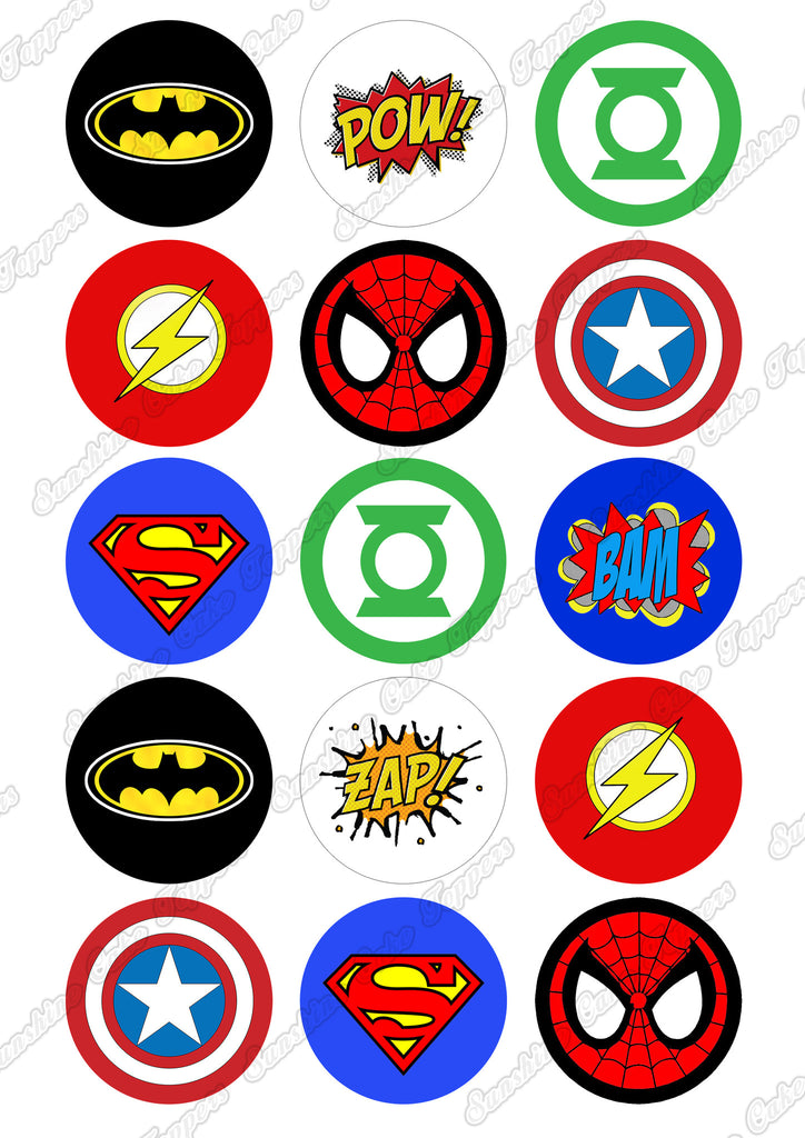 "Superhero 2"" Cupcake toppers x 15 – Sunshine Cake Toppers"