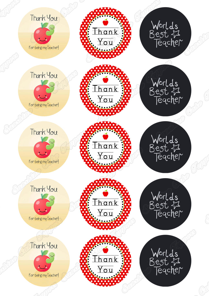 Thank You Teacher Cupcake Toppers – Sunshine Cake Toppers