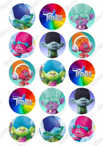 "Trolls 2"" Cupcake toppers x 15"