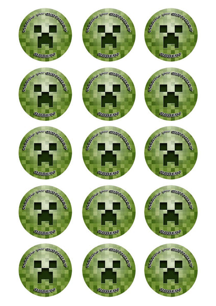 Creeper Minecraft Cupcake Toppers Sunshine Cake Toppers