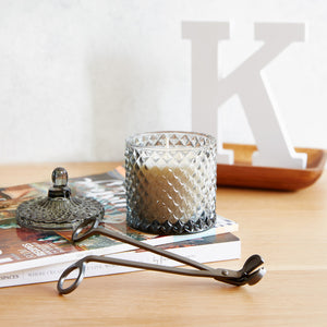 GEO Cut Glass Jar - Smokey Grey - Kandili