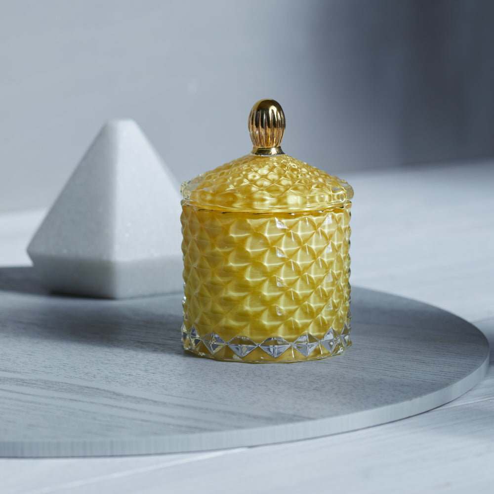 GEO Cut Glass Jar - Royal Yellow