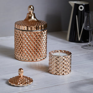 Kandili - GEO Cut Glass Jar - Rose Gold