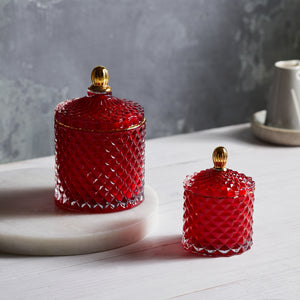 Kandili - GEO Cut Glass Jar - Royal Red