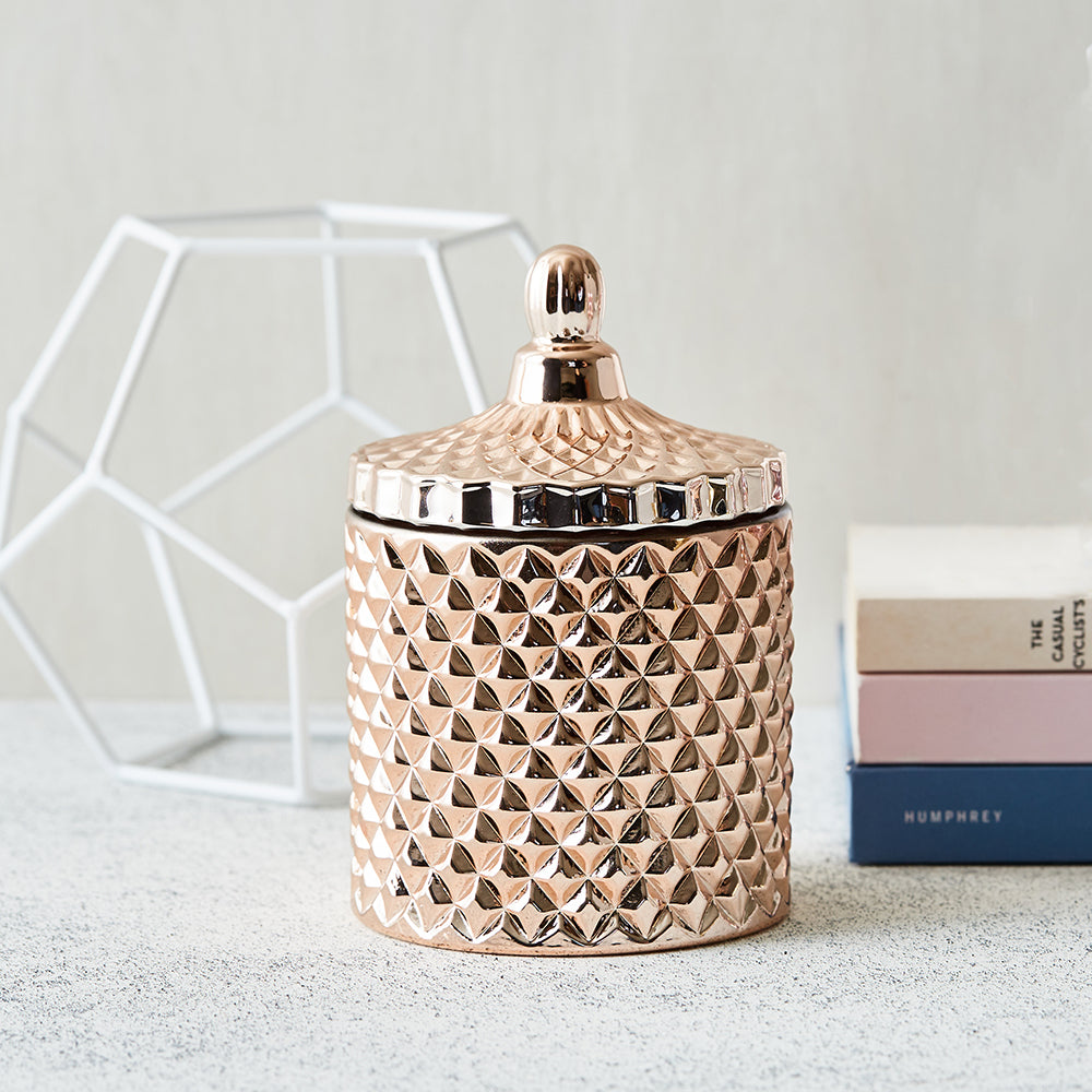 GEO Cut Glass Jar - Rose Gold - Kandili