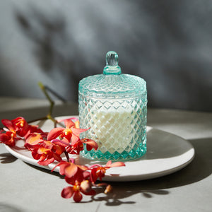 GEO Cut Glass Jar - Blue - Kandili