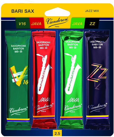 Vandoren Bari Sax Jazz Reed Mix Card (4-Pack)
