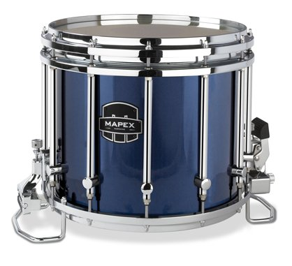 Mapex Quantum 14x12 Marching Snare Drum - Blue Steel Wrap - Chrome Hardware