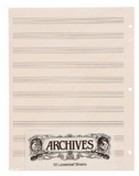 D'Addario Archives Looseleaf Music Manuscript Paper, 50 Sheets