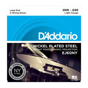 D'Addario Nickel Plated Steel, Loop End, Light, 5 String Banjo String Set