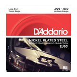 D'Addario Medium Gauge Nickel Plated Steel Loop End Tenor Banjo Strings