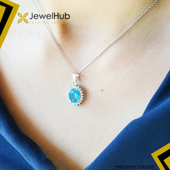 Aquamarine Sun Silver Necklace