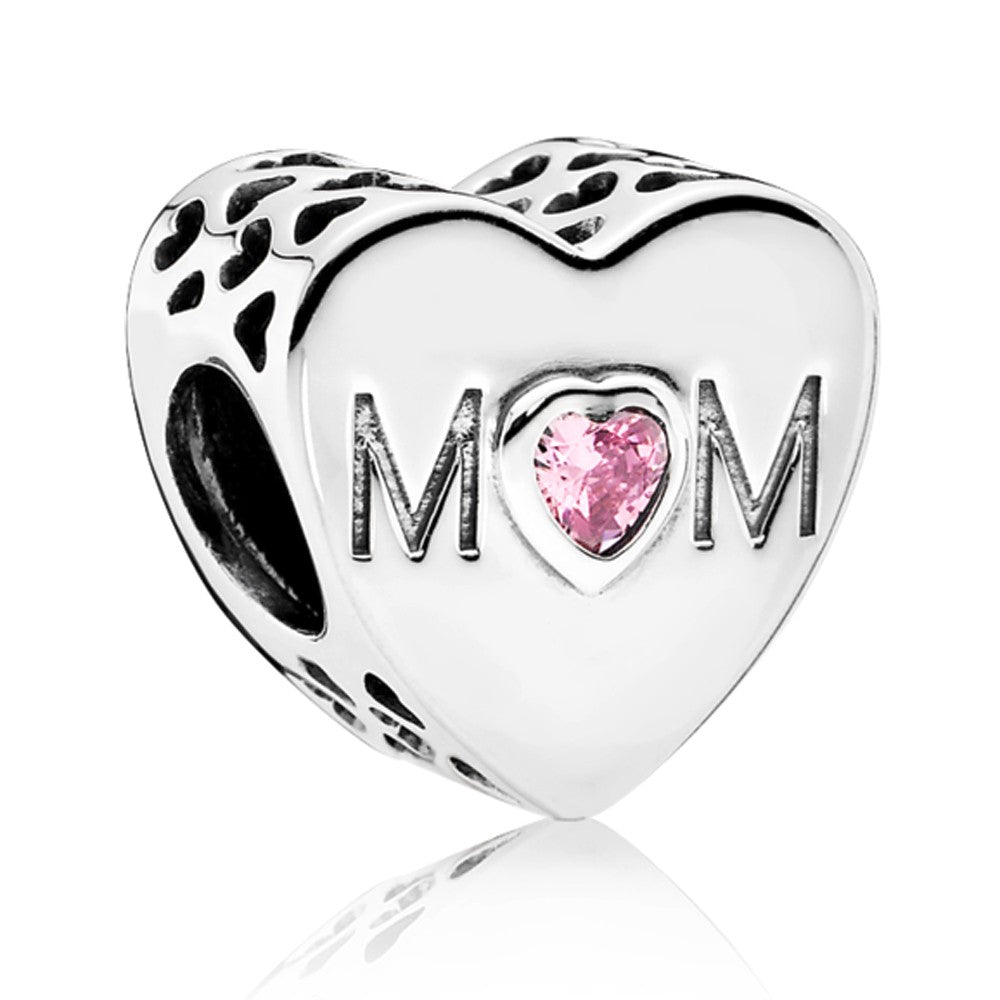 "Rose Quartz ""Mom"" Heart Silver Charm, Silver Charm - JewelHub jewelry"