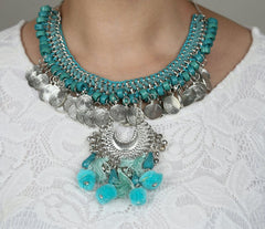 Handmade Statement Boho Indian Style Necklace - Turquoise