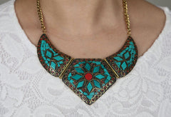 Indian Boho Mother of Pearl Statement Necklace