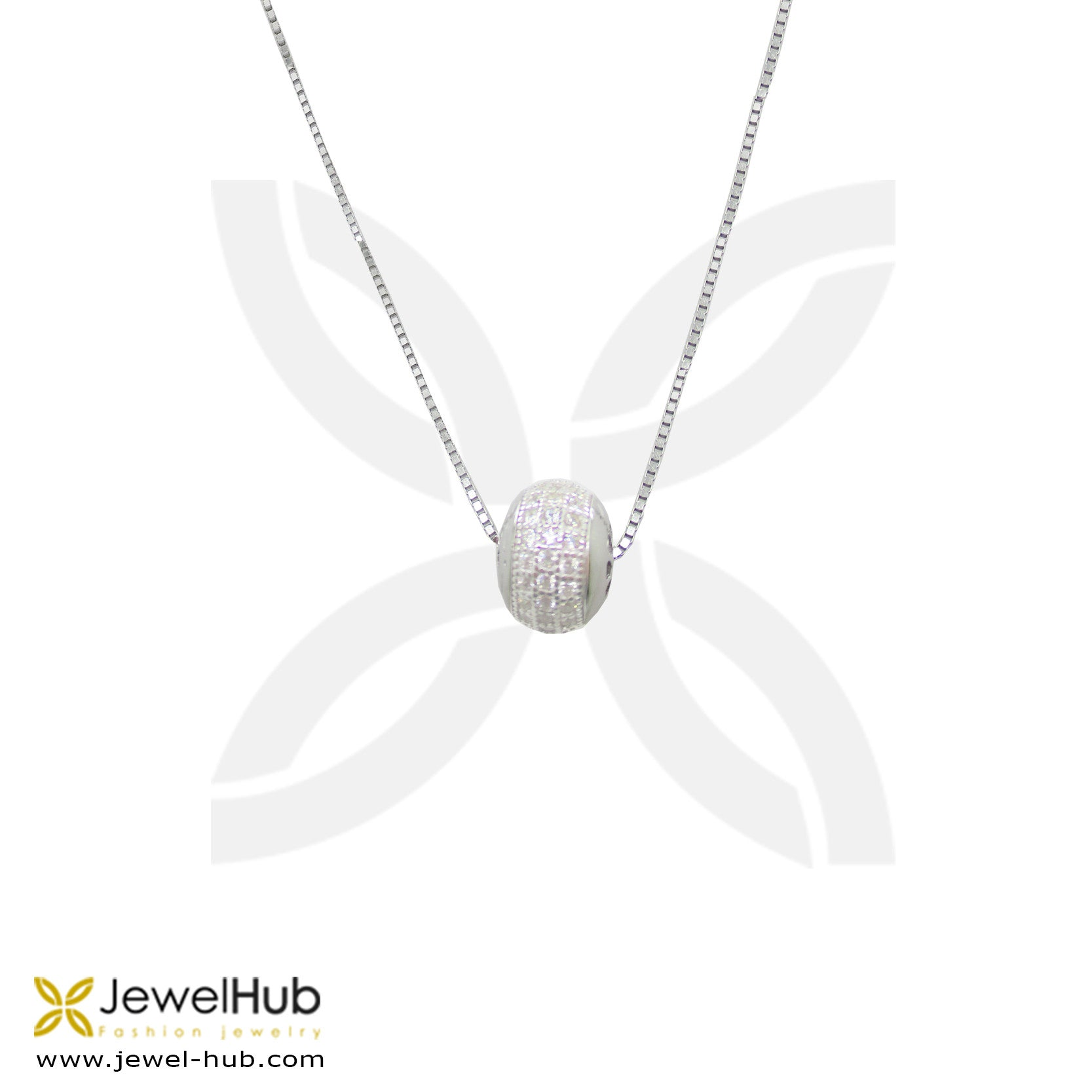 Pave Ball Silver Necklace
