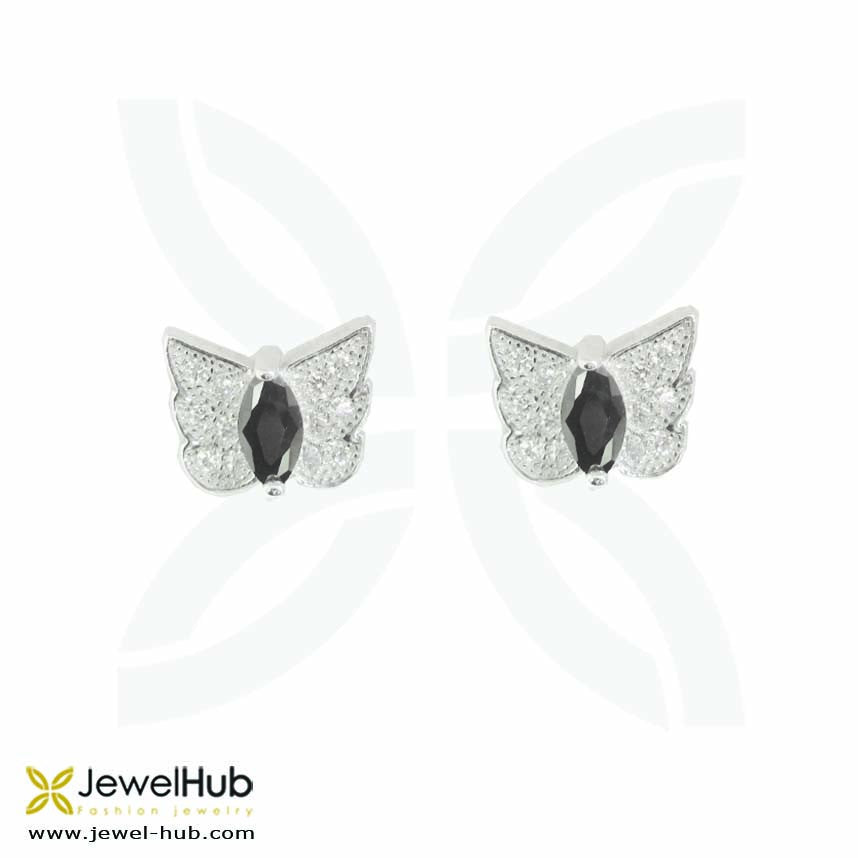 These lovely and simple earrings feature a small stone set in a sterling bezel.