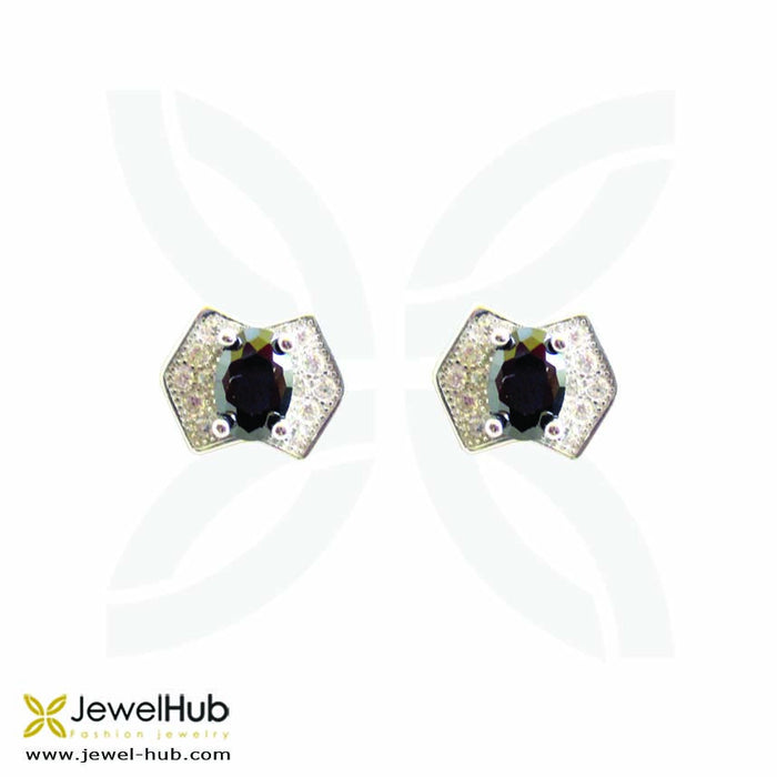 Twinkling CZ earrings with embedded colorful stones.