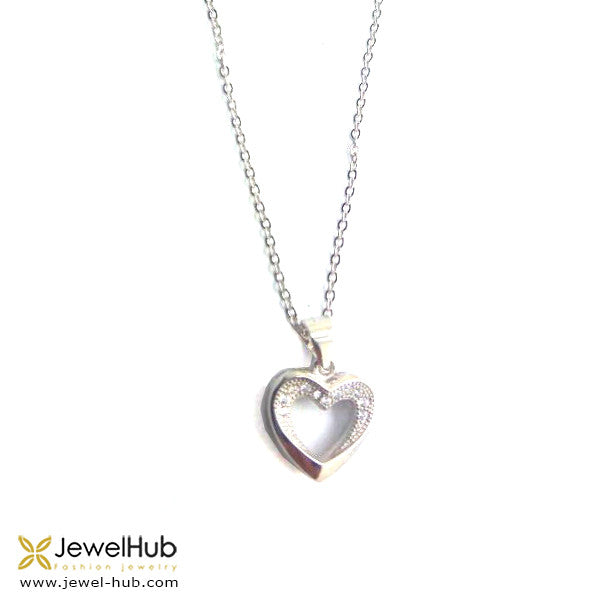 Twinkling silver heart necklace.