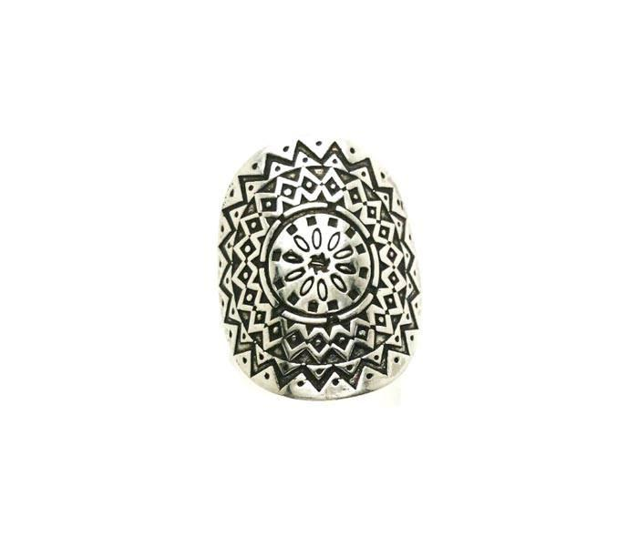 Boho Curved Silver Ring - Free Size
