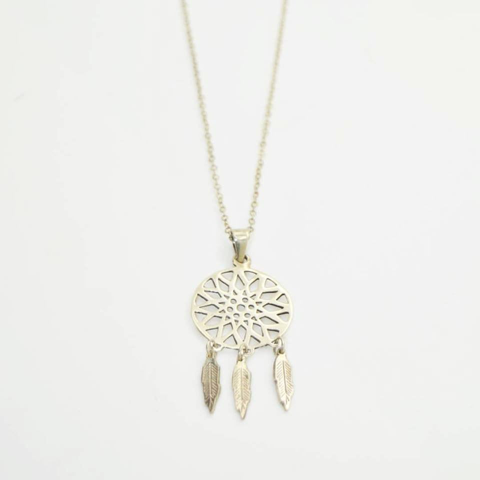 Delicately wrought DreamCatcher necklace.