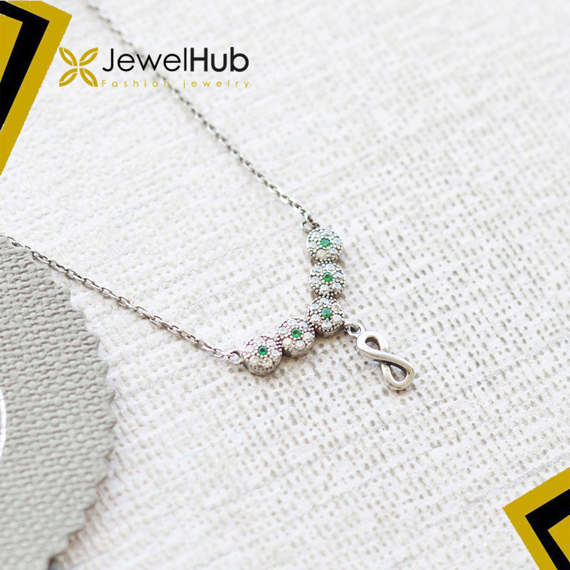 Tiny Emerald CZ & infinity necklace