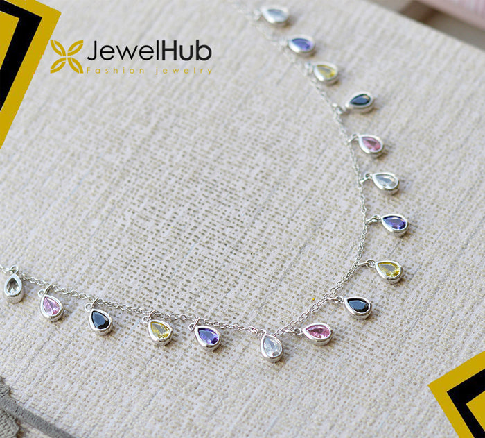 Colorful silver necklace