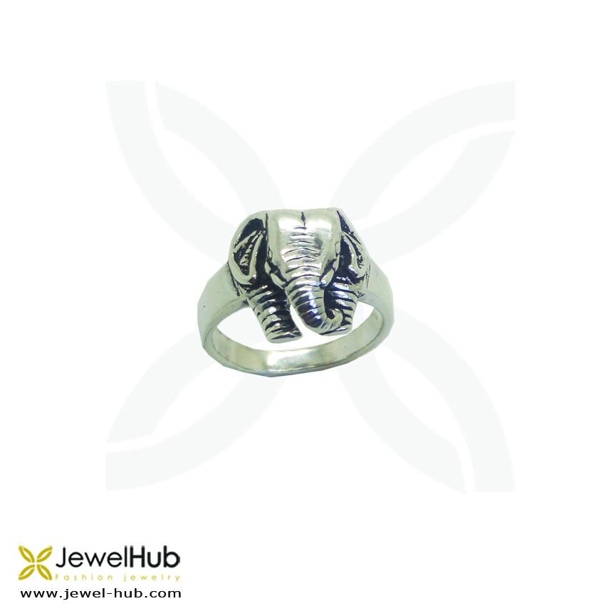 Antiqued Lucky Elephants Animal Ring
