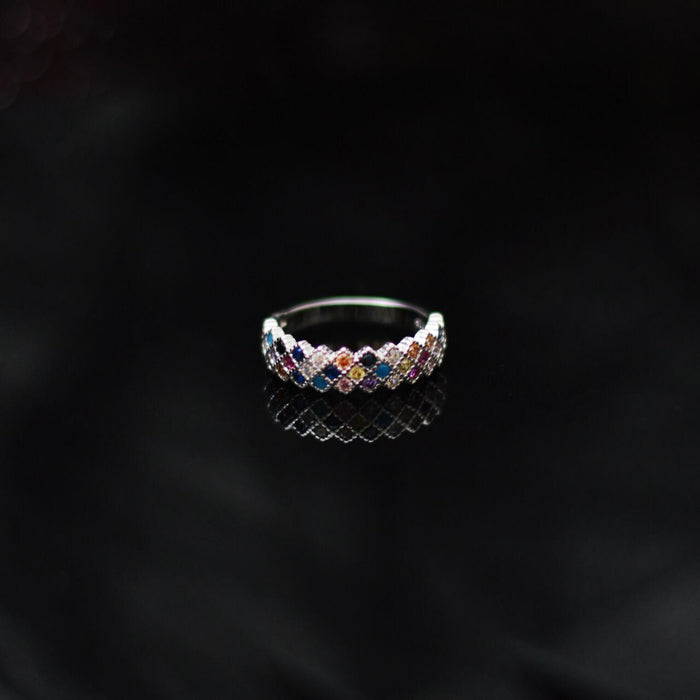 Colorful Stones Silver Ring