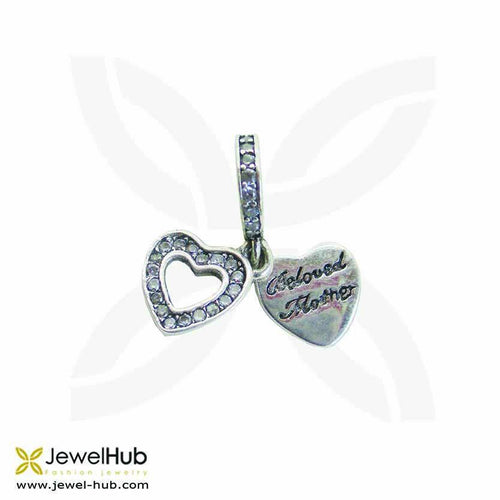 Beloved Mother Heart charm, Silver Charm - JewelHub jewelry
