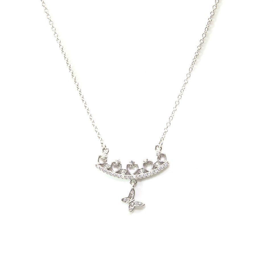 Happy Butterfly CZ Silver Necklace