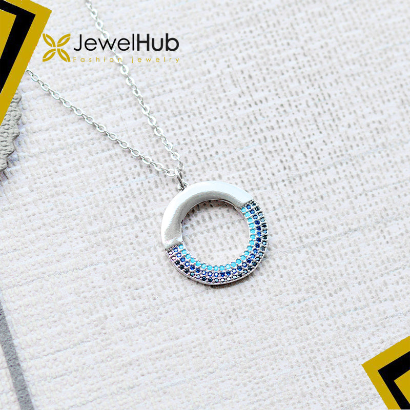 Nano CZ circle necklace