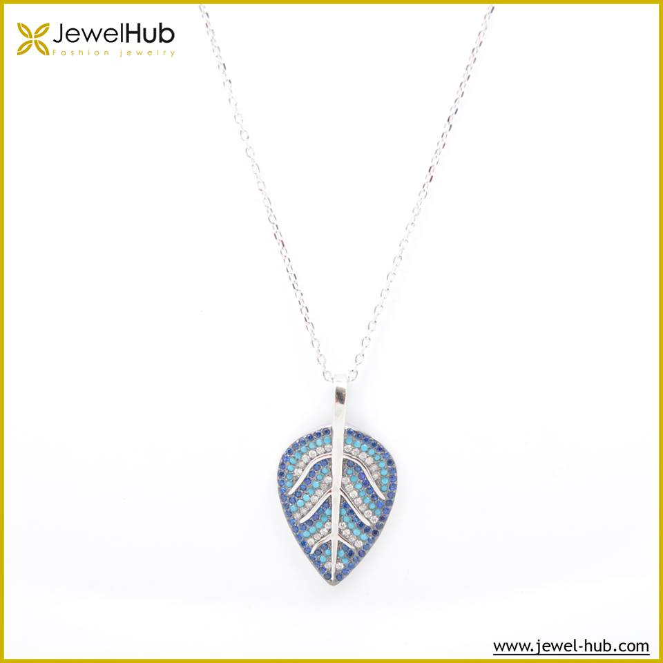 Leaf Colorful Silver Necklace