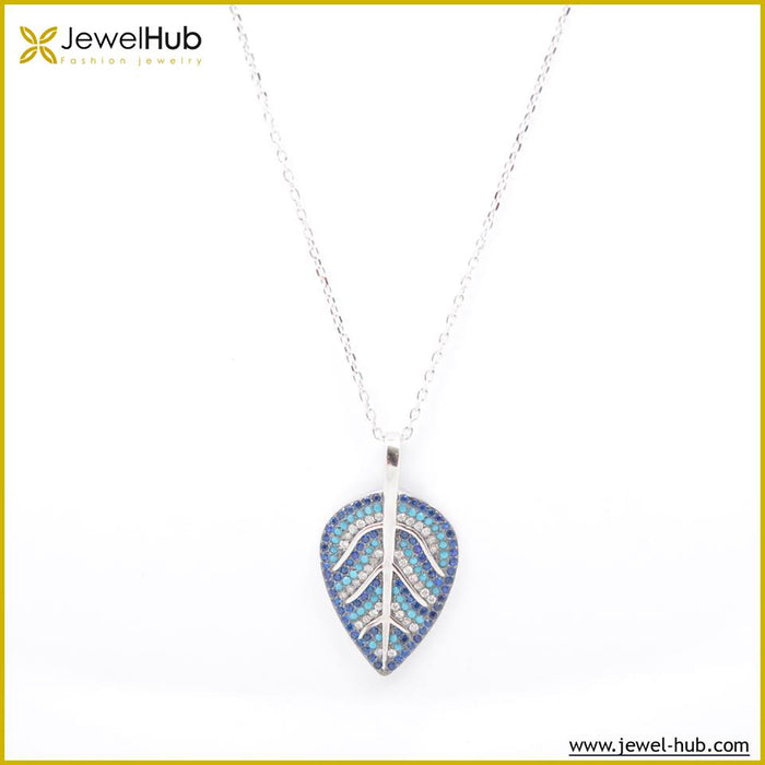 Leaf Colorful Silver Necklace, Necklace - JewelHub jewelry