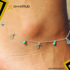Turquoise Disc Silver Anklet