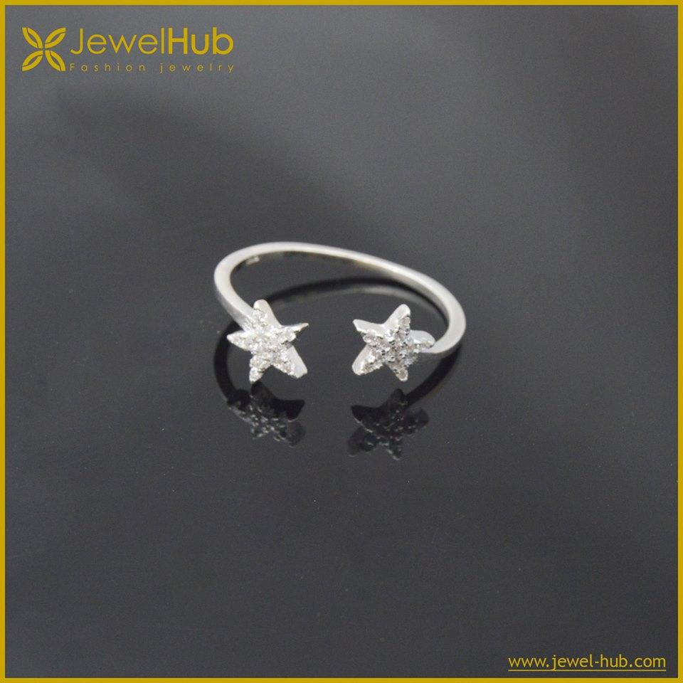 Double Star Silver Ring
