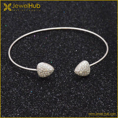 Heart To Heart Silver Bangle