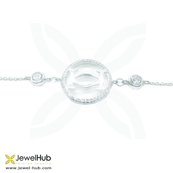 Fashionable bracelet with symbolic charms covered with twinkling crystals.