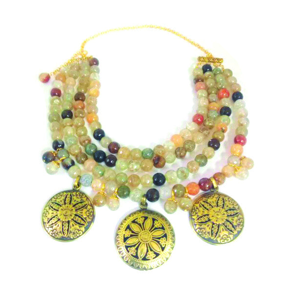 A elegant Gold-plated Arabian necklace with numerous colorful Agate stones.
