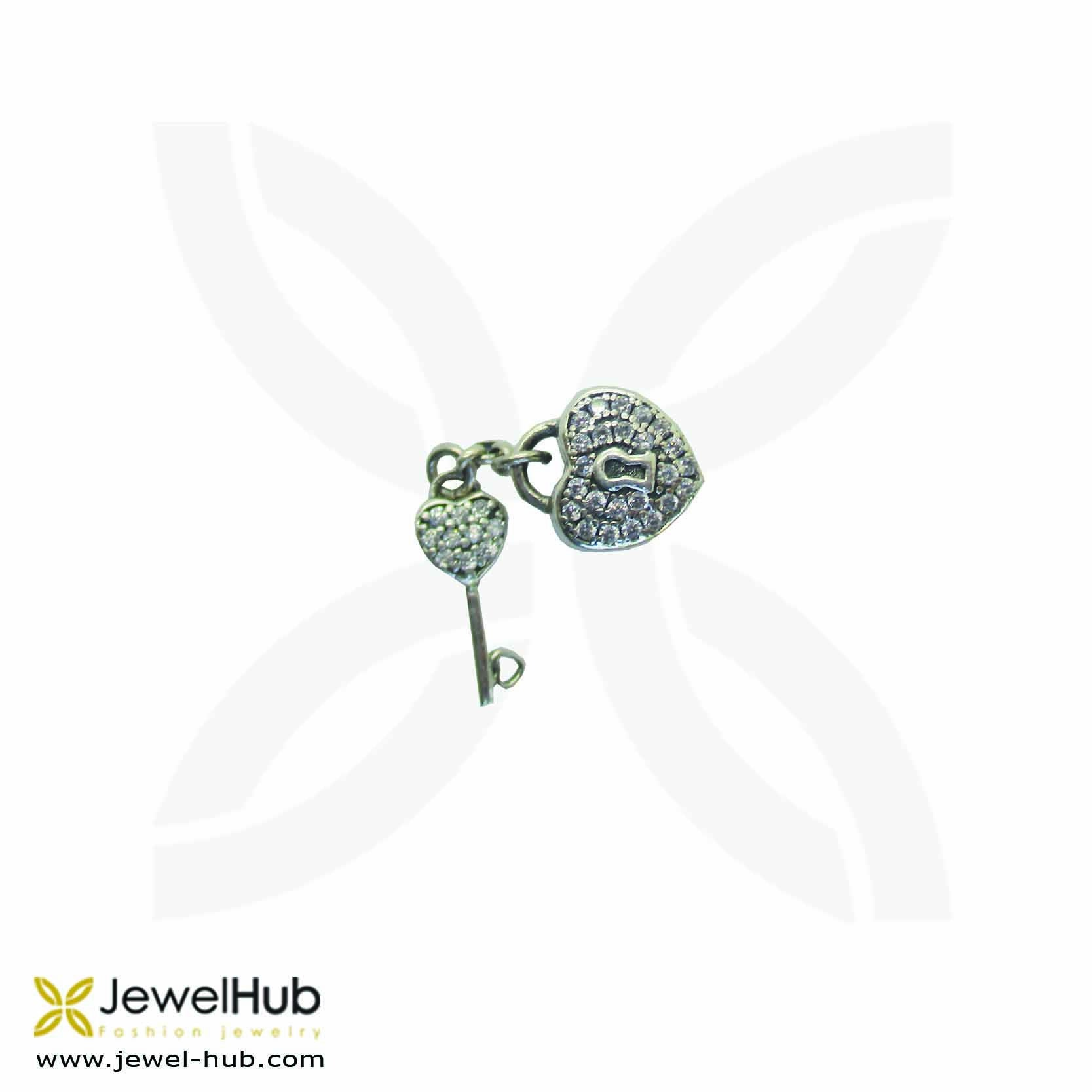 Heart Key Crystal Charm