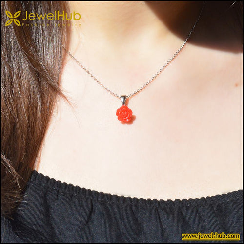 Red Flower Silver Necklace