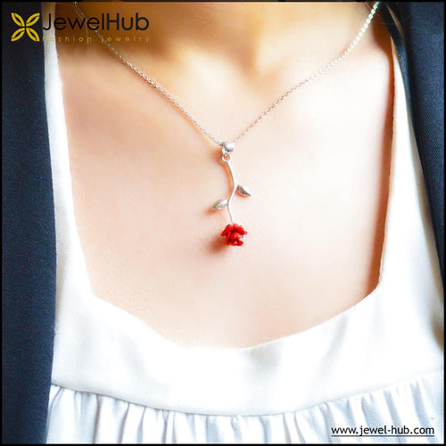 Lovely Red Flower Silver Necklace