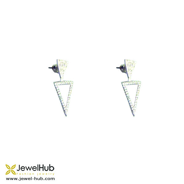 A pair of  triangle-shaped earrings.